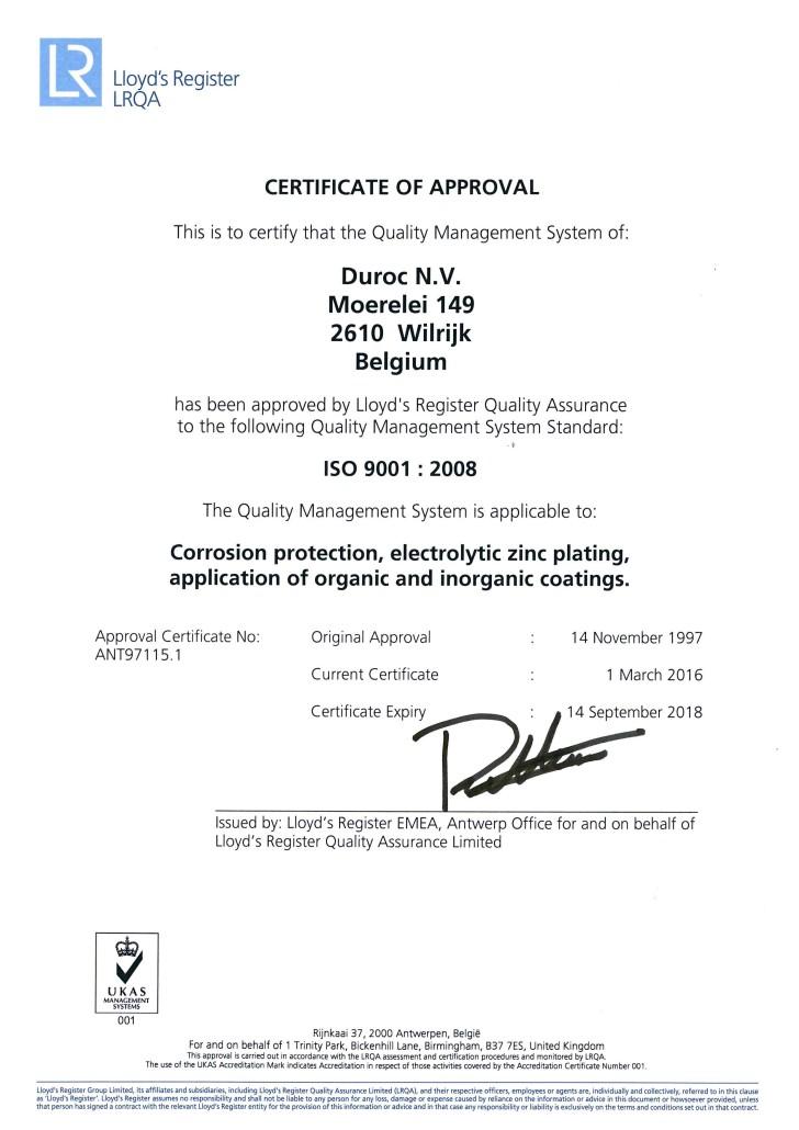 ISO 9001 - Expiry Sep 2018